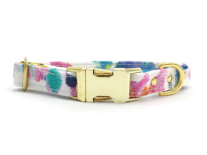 Luxury flower print cotton dog collar with brass buckle & solid brass hardware, by Noggins & Binkles