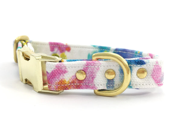 Luxury pink floral print cotton dog collar with brass buckle available in extra small, small, medium and large