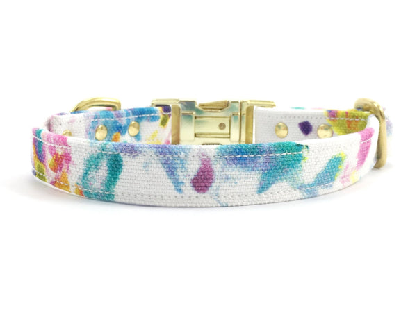 Girly summer flower print luxury cotton dog collar with brass buckle, made in London by Noggins & Binkles