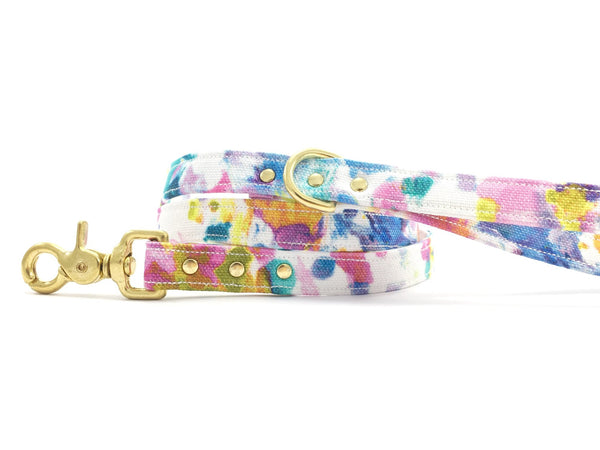 Luxury flower print cotton dog lead/leash with solid brass trigger snap hook, d ring and rivets, by Noggins & Binkles