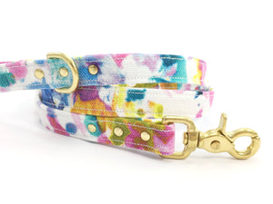 Dog lead/leash in luxury pink floral print with solid brass trigger snap hook, matching collar available, by Noggins & Binkles