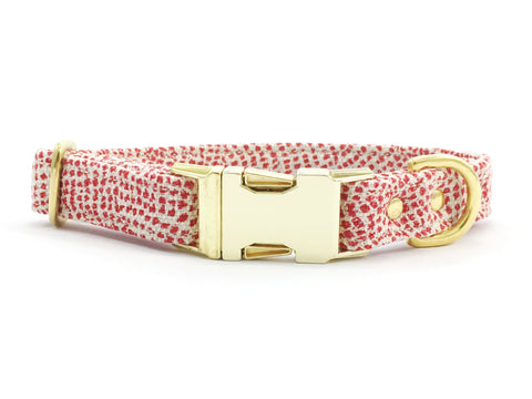 Luxury Christmas dog collar in red polka dot cotton and linen fabric with brass buckle and solid brass hardware
