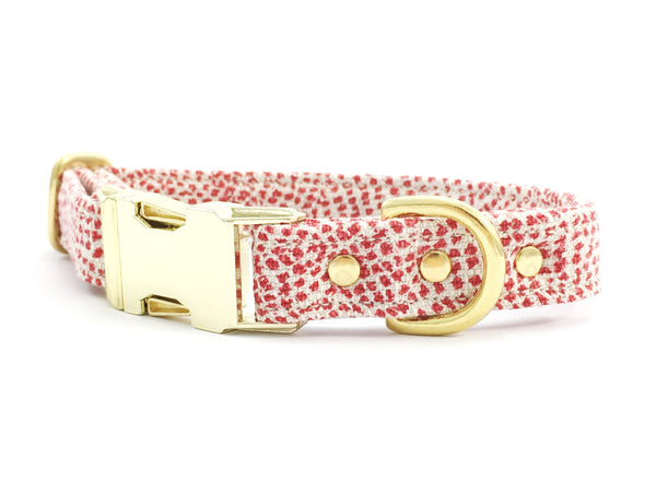 Designer Christmas dog collar in red polka dot cloth available in extra small, small, medium and large