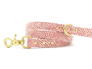 Luxury red polka dot Christmas dog lead/leash with solid brass gold hardware with matching collar available, by Noggins & Binkles
