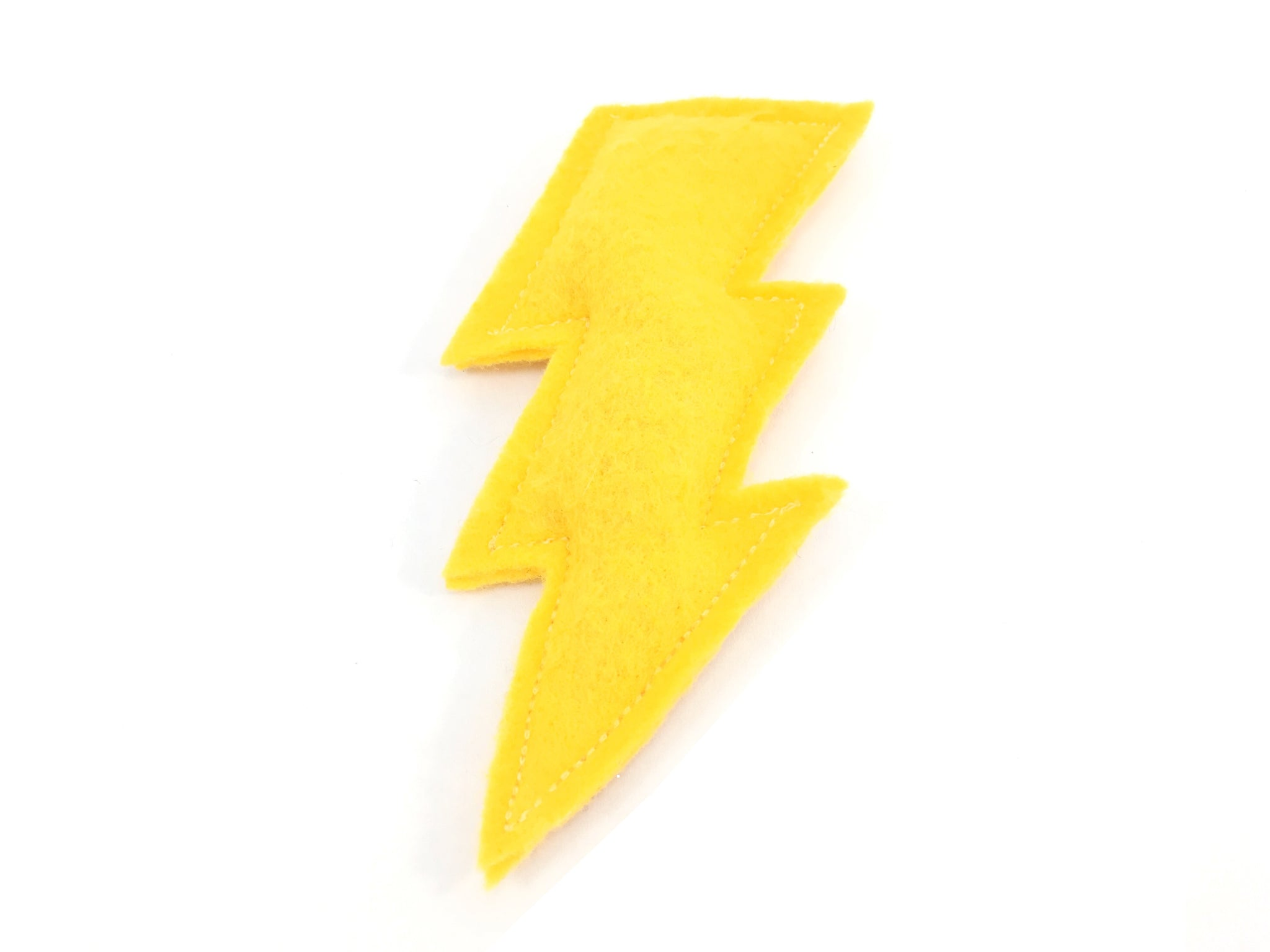 Organic catnip lightning bolt cat toy in yellow recycled vegan felt and filled with recycled PET fibre and organic catnip, eco friendly and sustainable cat toy