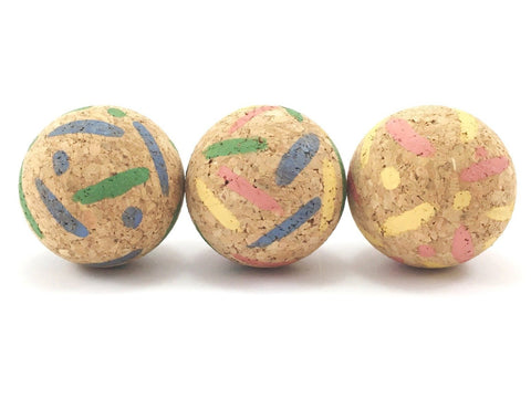 Cork cat ball toy in stripes and spots pattern made from eco friendly and sustainable cork bark