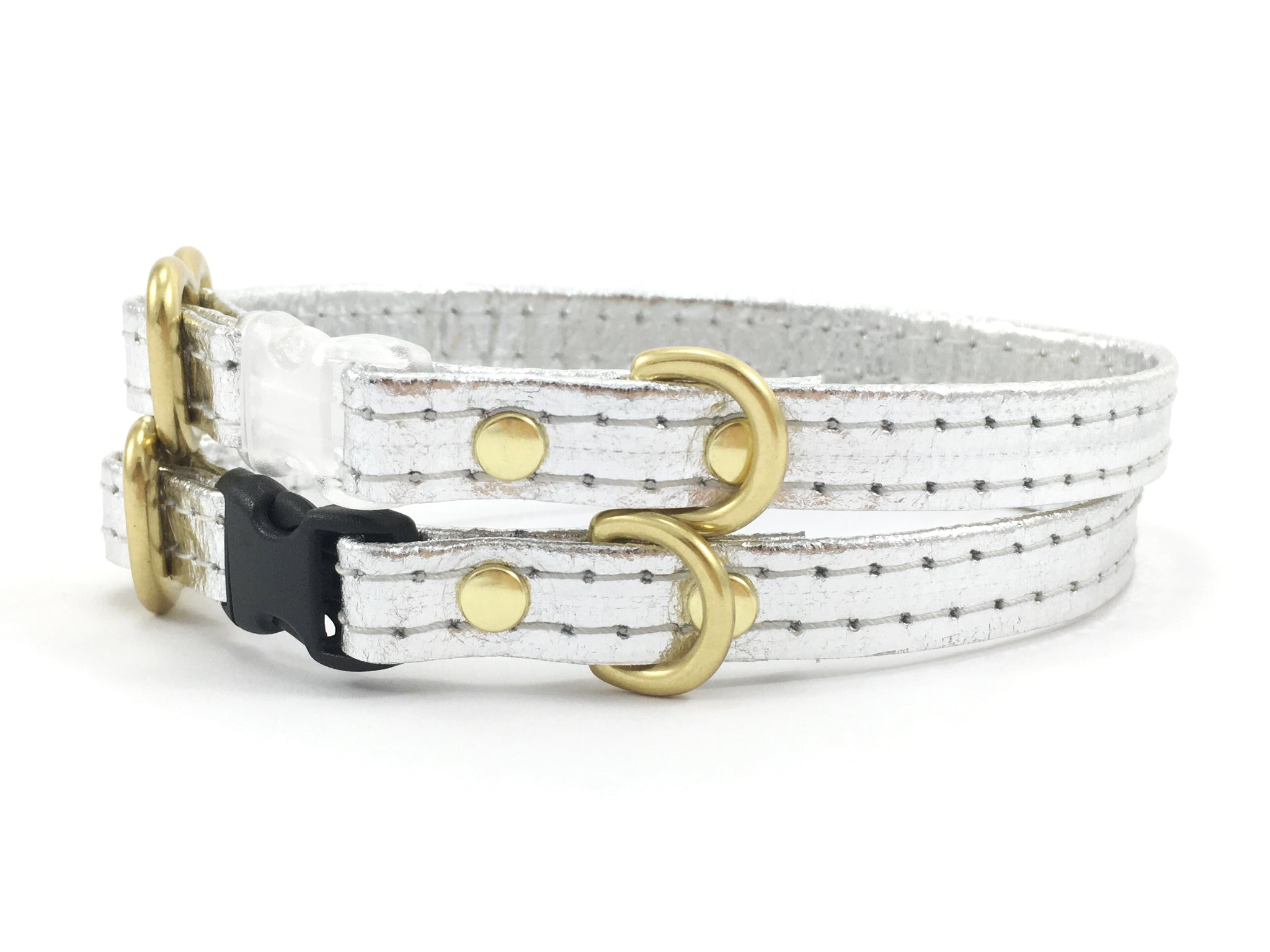 Silver Miniature Dog Collar in Piñatex Vegan Leather