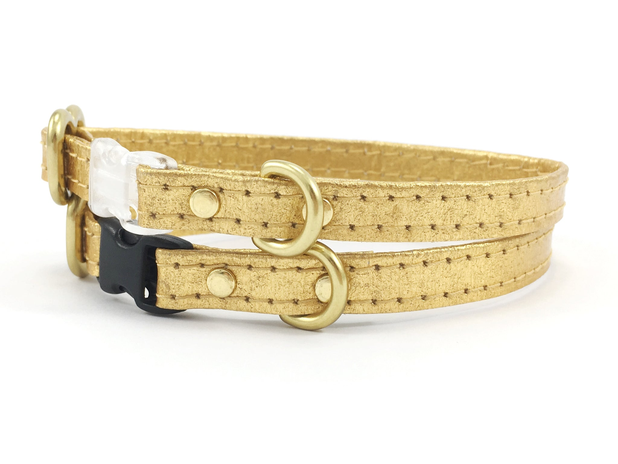 Gold Miniature Dog Collar in Piñatex Vegan Leather