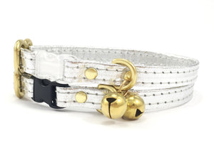 Silver Breakaway Safety Cat Collar in Piñatex Vegan Leather With Solid Brass Bell
