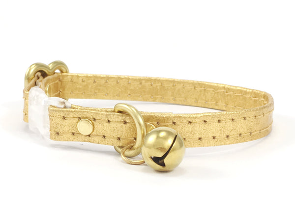 Piñatex Breakaway Safety Cat Collar With Solid Brass Bell - Gold