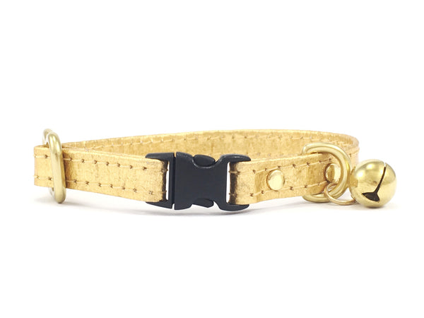Gold Breakaway Safety Cat Collar in Piñatex With Solid Brass Bell