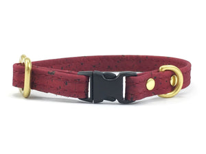 Vegan leather miniature dog collar in burgundy vegan cork leather with solid brass rust-proof hardware
