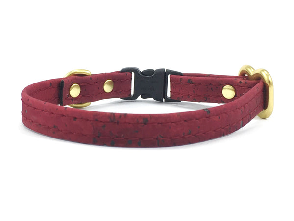 luxury, ethical and sustainable vegan burgundy cork leather miniature dog collar suitable for toy breeds and tiny dogs
