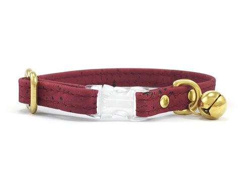Burgundy cat collar in vegan cork leather with breakaway safety buckle and solid brass bell