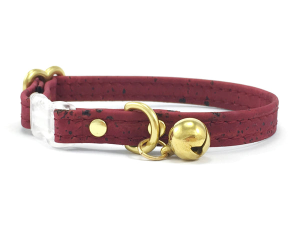 Burgundy breakaway safety cat collar with solid brass bell and solid brass gold hardware in vegan cork leather