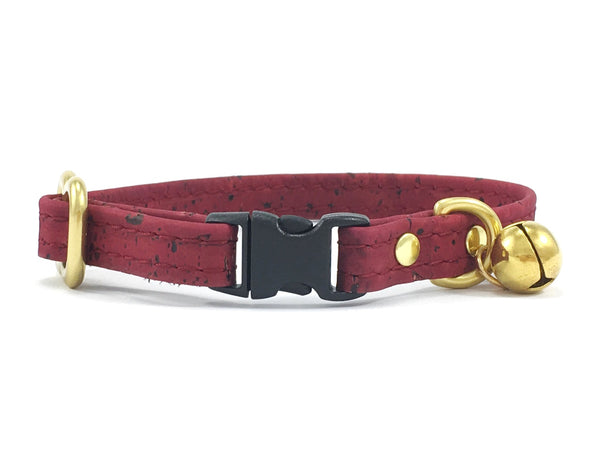 Breakaway safety cat collar in burgundy red vegan cork leather with anti-hunting solid brass cat bell with safety buckle