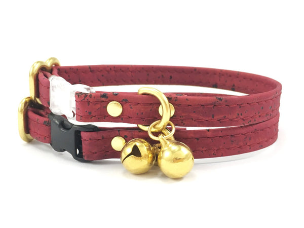 Burgundy cat collar in vegan cork leather with breakaway safety buckle and solid brass bell, can be made in bespoke sizes