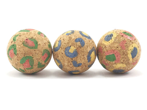 Eco friendly leopard print cat ball toys made from natural vegan cork sold as a set of three