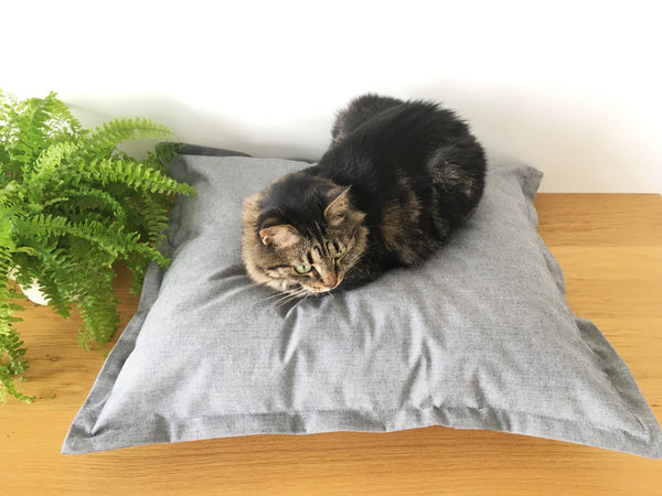Luxury cat pillow cushion bed in organic cotton canvas with stylish cover, made in the UK