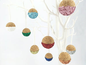 Luxury cork bauble Christmas tree decorations with biodegradable cork in white, green, light blue, royal blue, gold, silver, rose gold, red, blush pink and purple.