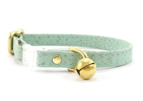 Breakaway safety cat collar in luxury mint green vegan cork 'leather' with solid brass bell