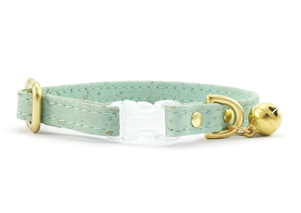 Luxury green vegan cork 'leather' breakaway safety cat collar with transparent breakaway buckle and solid brass bell and hardware
