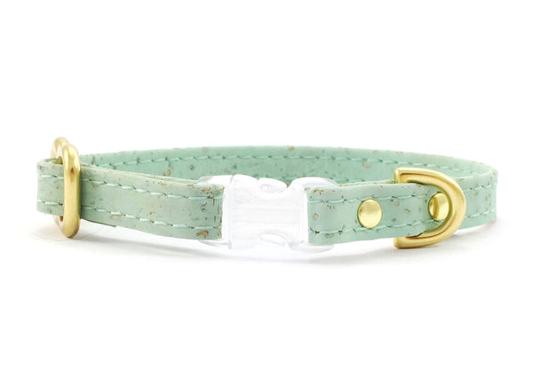 luxury pastel mint green miniature toy dog collar in unique vegan cork leather with solid brass hardware, suitable for miniature dachshunds, Maltese and chihuahuas.