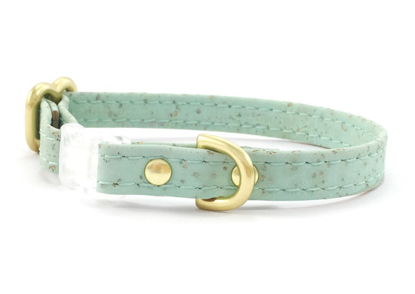 Extra small/miniature dog collar in seafoam green vegan cork 'leather', made in London, UK