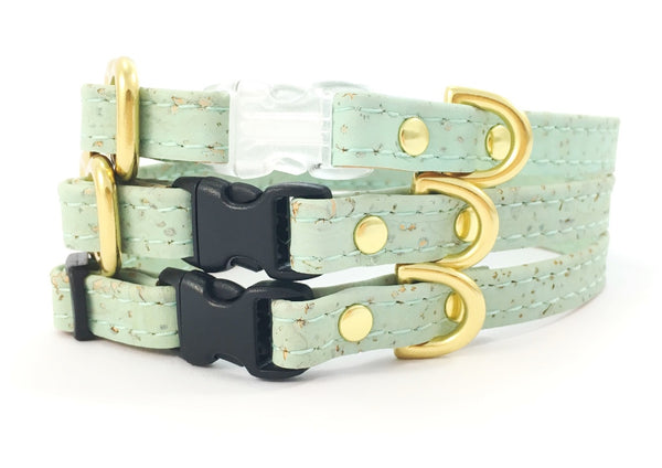 Tiny green dog collars in mint green vegan leather with solid brass gold hardware, suitable for toy breeds and made in the UK