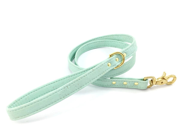 Pastel mint green dog leash in eco friendly and ethical vegan cork leather with luxury brass hardware