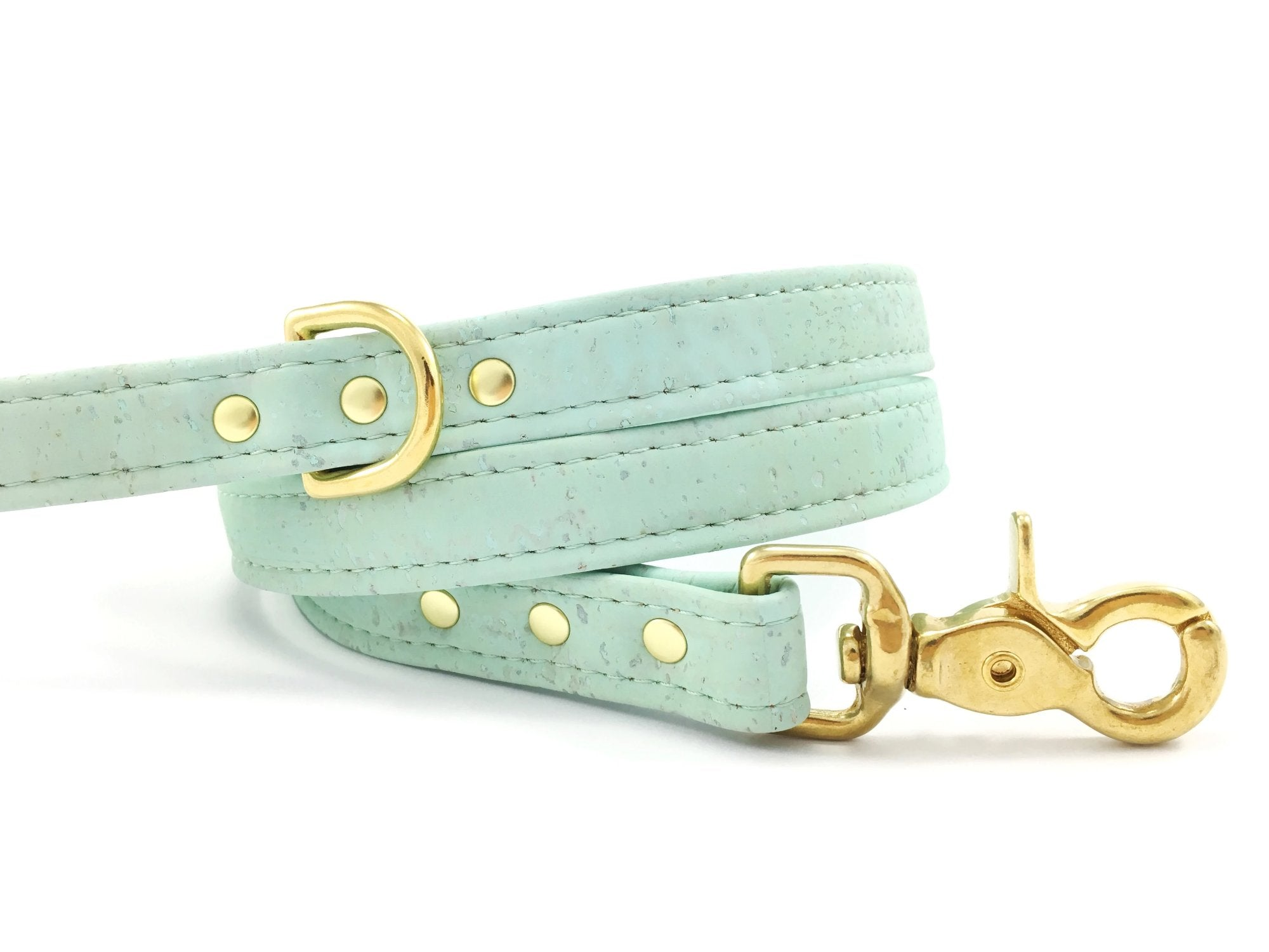 Mint green dog lead in unique vegan cork leather with luxury brass hardware, made in the UK
