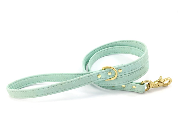 Mint green dog and puppy collar in sustainable vegan cork leather with matching collar available