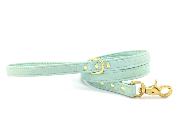 Green dog lead in unique vegan cork leather and luxury brass hardware, made in the UK
