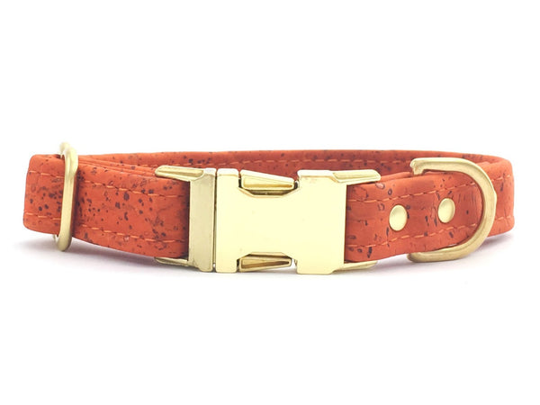 Luxury orange vegan cork 'leather' dog collar perfect for Autumn/Fall and Halloween, available in extra small, small, medium and large.