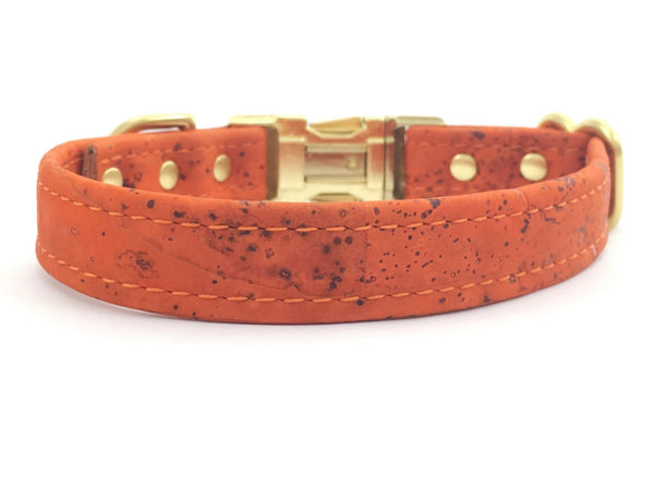 Orange dog collar in luxury vegan leather made from cork with solid gold brass hardware and matching lead available