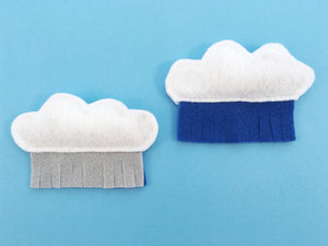 Organic catnip cat toy in recycled vegan felt in a fun cloud and rain design