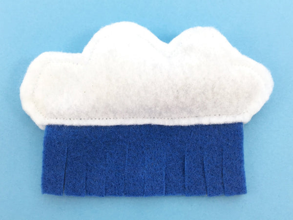 Luxury cat toy in vegan recycled felt in a cloud and rain design and filled with organic catnip and filling made from 100% post-consumer plastic bottles