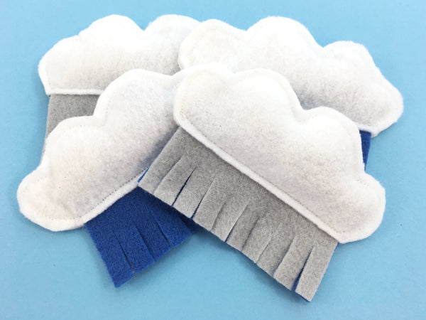 Organic catnip cat toy in recycled eco felt in a modern cloud and rain design