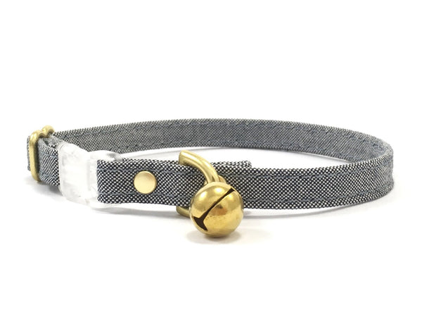 Blue and white cat collar in organic cotton fabric with luxury solid brass bell