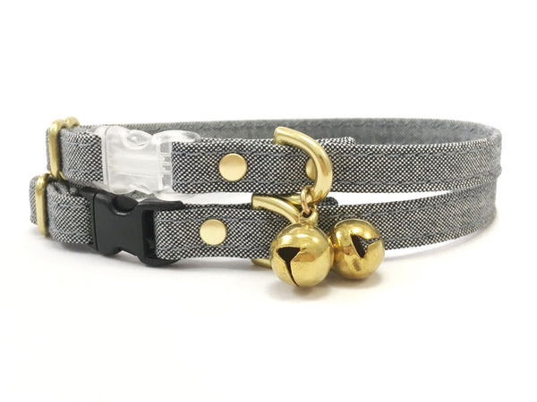 Organic cat collar in ethical eco friendly cotton canvas with breakaway safety buckle and bell