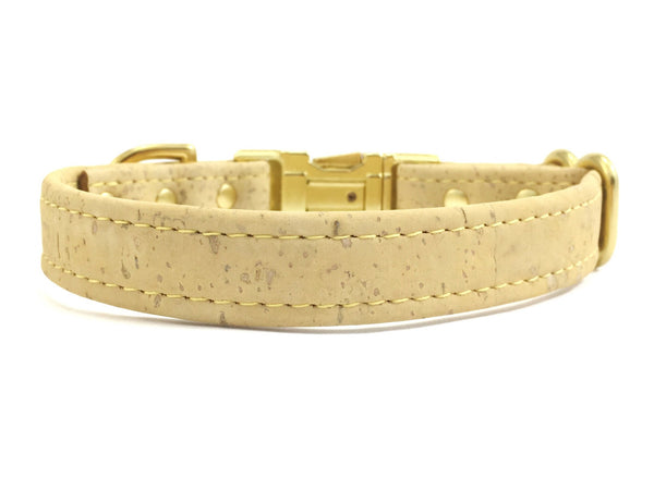 Pastel yellow designer dog collar in vegan cork leather and luxury brass