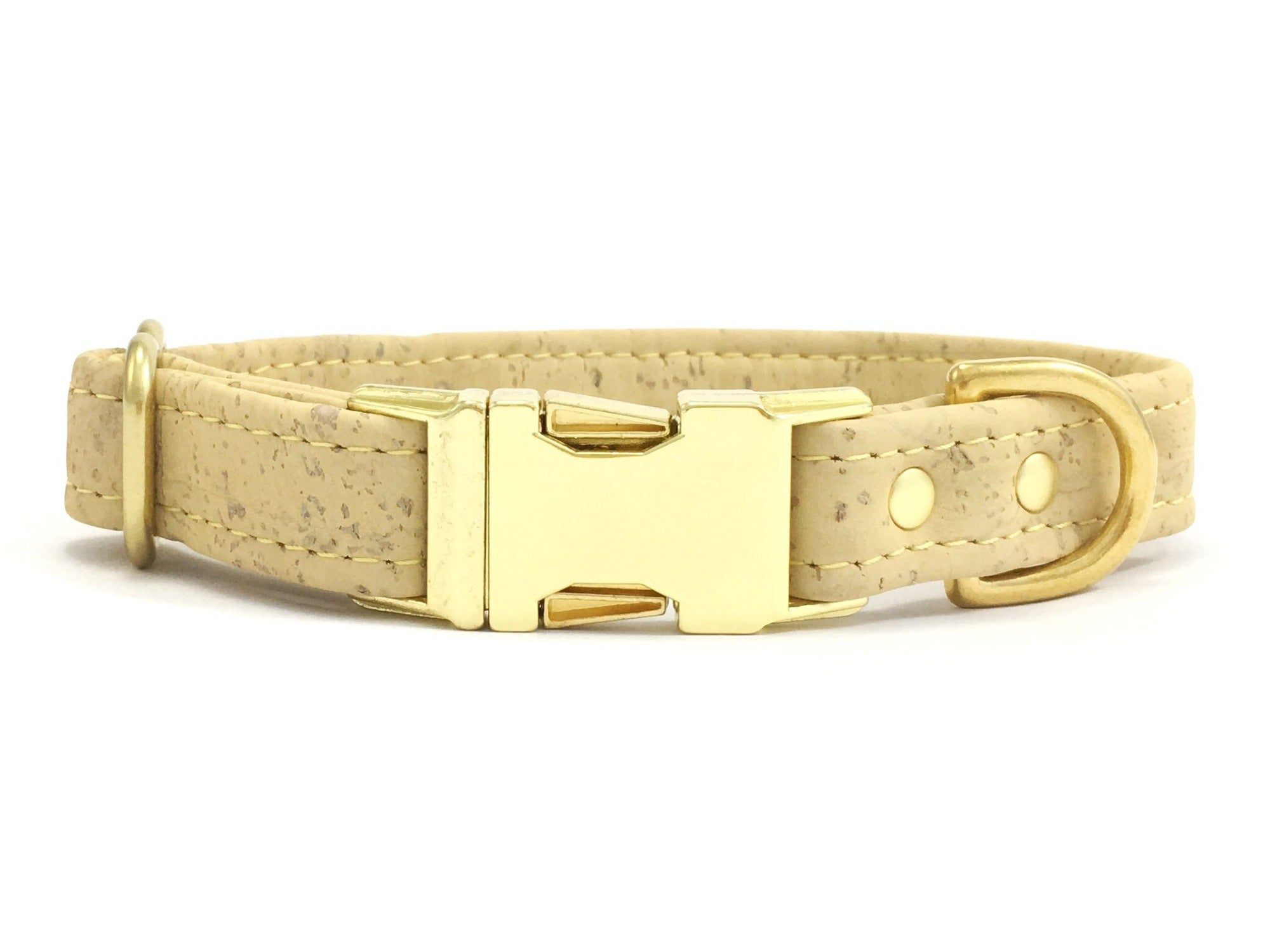 Pastel yellow dog collar in vegan cork leather with luxury brass buckle