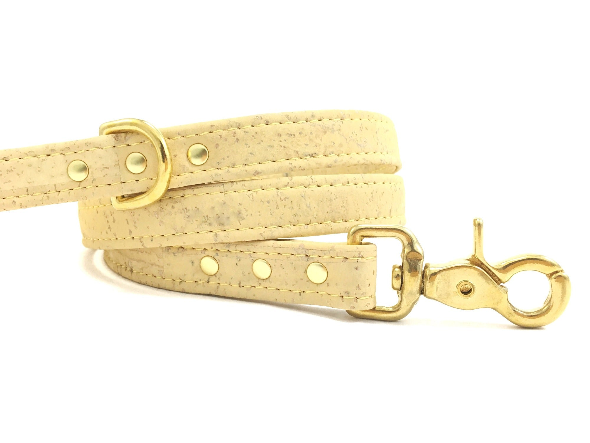 Luxury pastel yellow vegan cork leather dog lead/leash with solid brass trigger snap hook, d ring and rivets