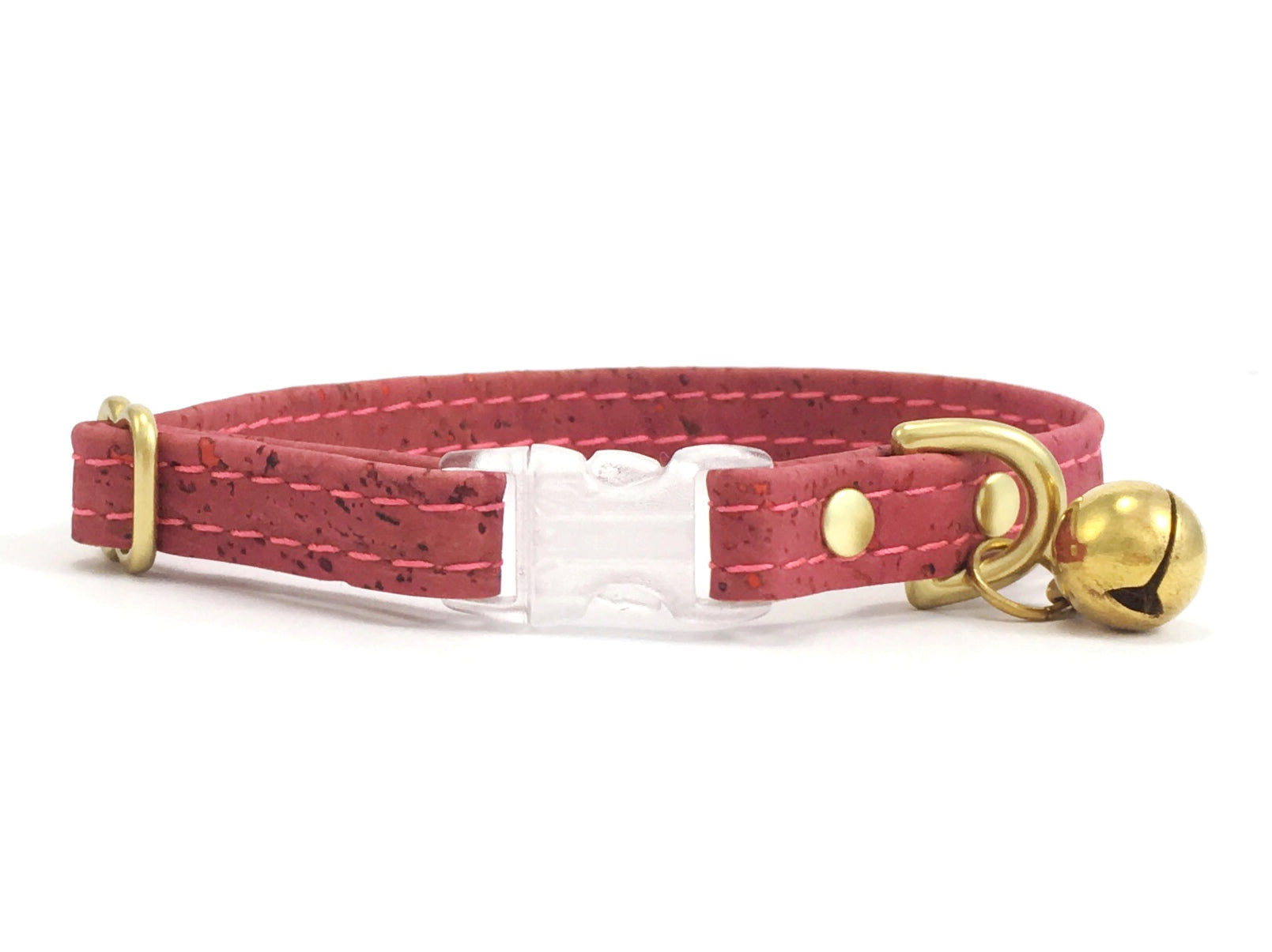 Pink Vegan Cork 'Leather' Breakaway Safety Cat Collar With Solid Brass Bell
