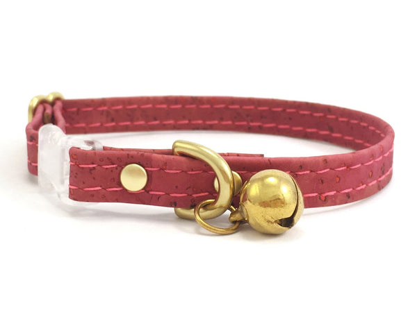 Pink cat collar in pretty rose pink vegan cork leather with a luxury brass bell