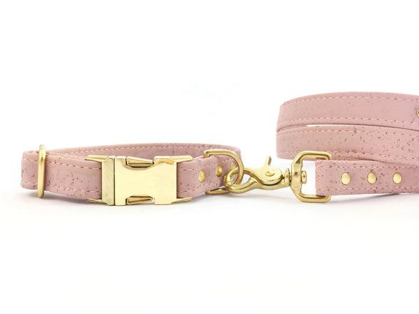 Pink dog collar and lead in vegan cork leather with luxury gold brass hardware