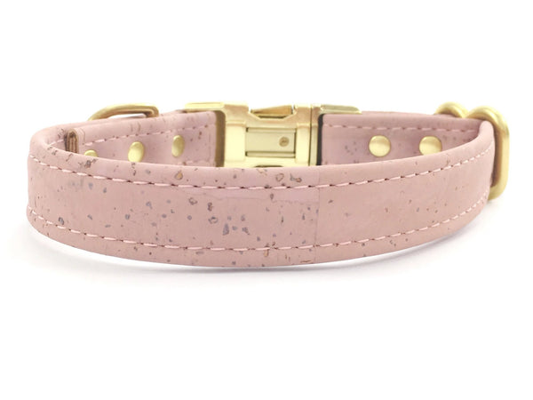Pink dog and puppy collar in pretty pastel pink vegan cork leather, matching lead available