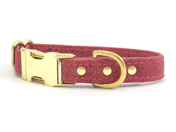 Pink dog or puppy collar in unique vegan corkl leather with luxury solid brass hardware, made in the UK