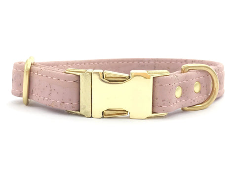 Luxury pink dog collar in vegan cork leather with gold brass hardware