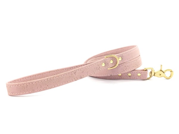 Luxury rose pink vegan cork leather dog lead/leash with solid brass trigger snap hook, d ring and rivets, matching collar available